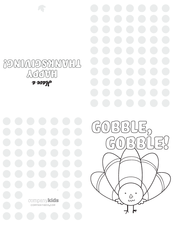 Free Downloadable Printable Thanksgiving Day Cards for Kids