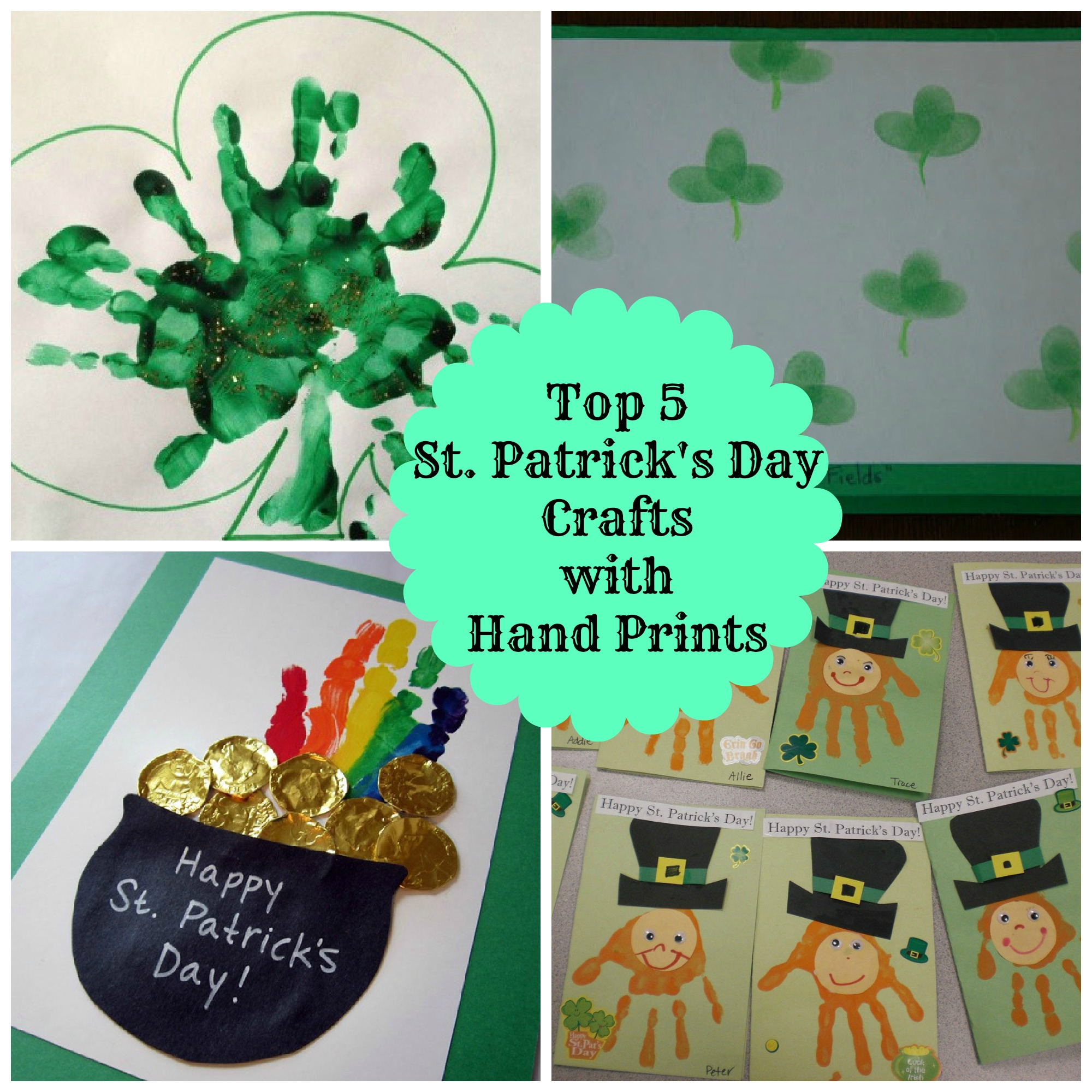 5 Easy Hand Print St Patrick S Day Crafts For Kids Classy Mommy