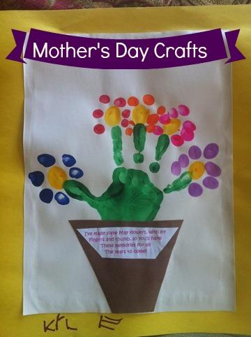Mother's Day Handprint Craft - Thumbprint & Handprint flowers via @ClassyMommy