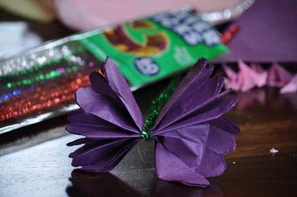 Spring craft how to make tissue paper flowers classy mommy 5 slowly pull each individual tissue paper mightylinksfo Gallery