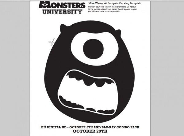 Monsters University Mike Wazowski Pumpkin Carving Template