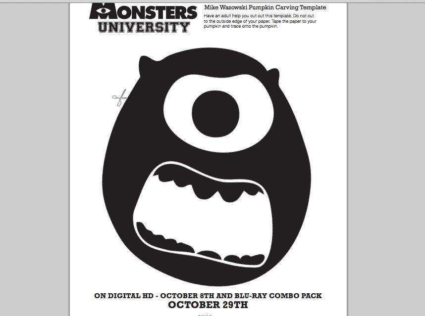 Monsters University Mike Wazowski Pumpkin Carving Template ...