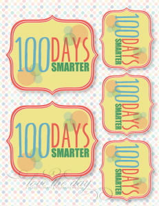 100 days of school free printable tag for crafts