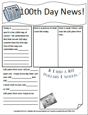 100th day newspaper free printable