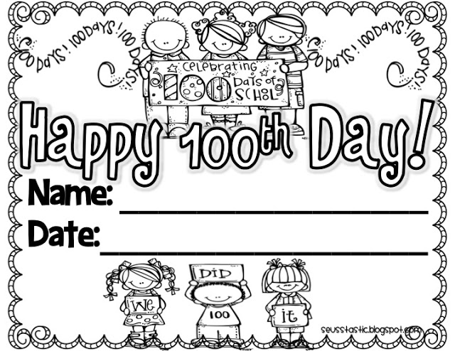 100th day of school Free Printable Certificate