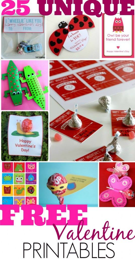 Cute 25 Free Valentines Day Card Printables for kids