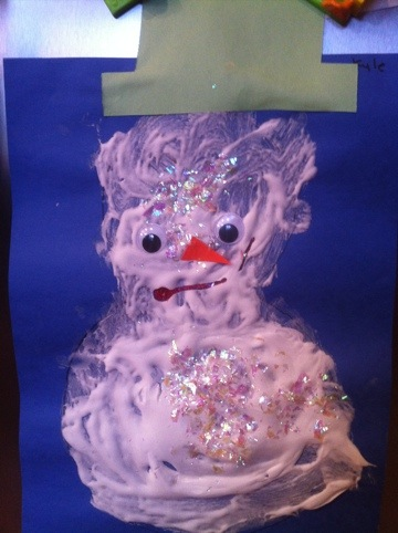 Shaving Cream Puffy Paint Snowman