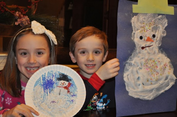 Winter Crafts made with shaving cream puffy paint