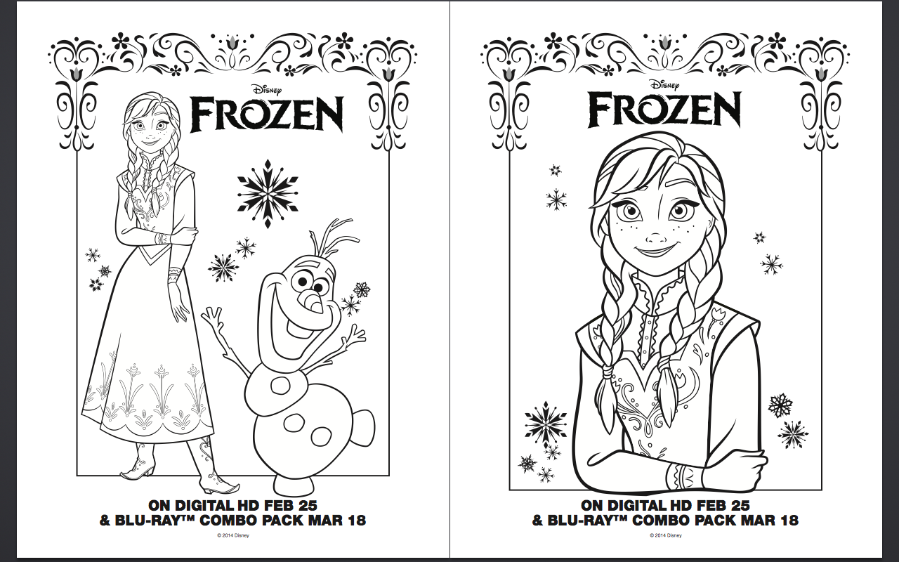 coloring pages and activities - free frozen coloring pages and activity sheet printables