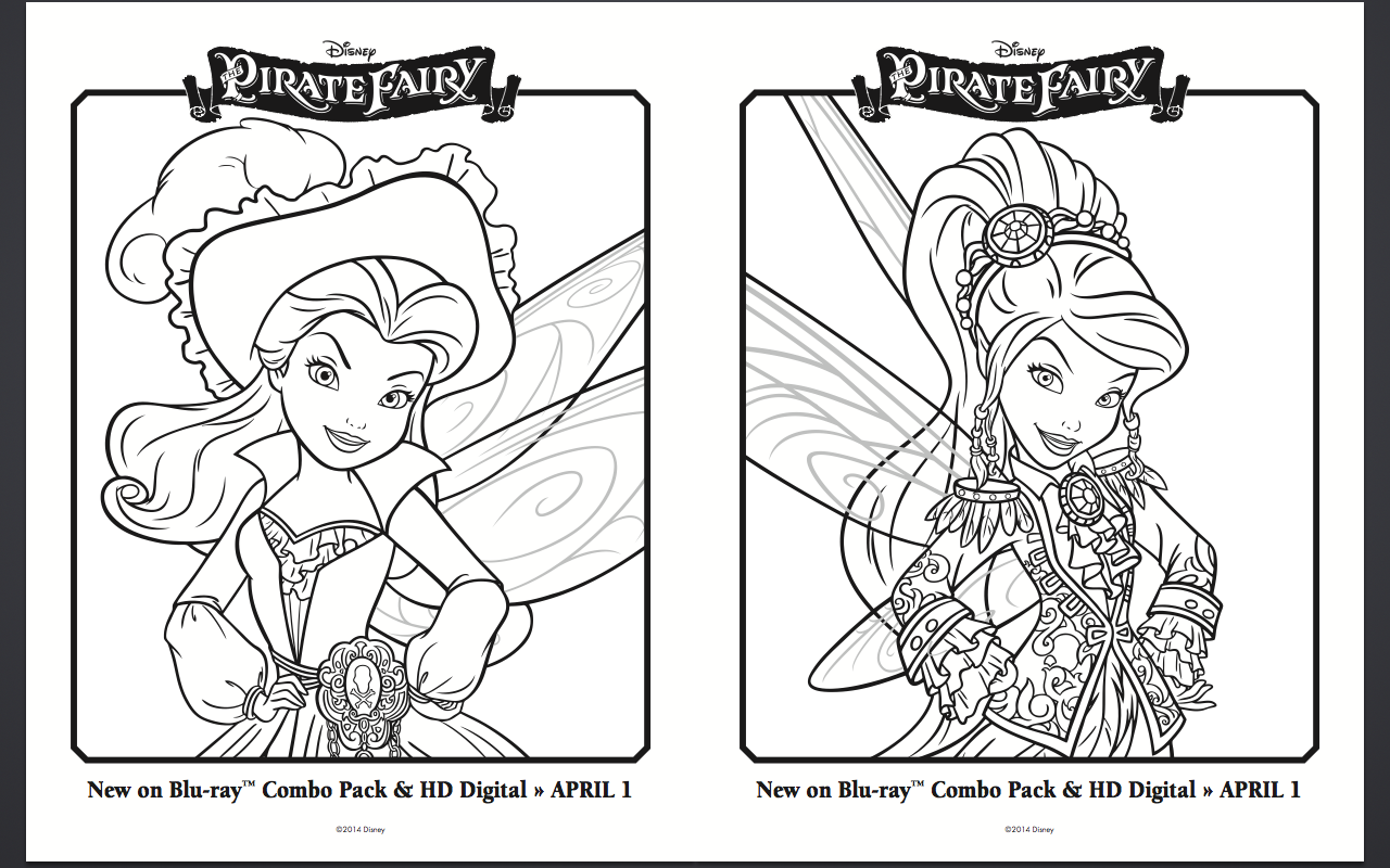 Free Pirate Fairy Coloring Pages and Activity Sheets part 2