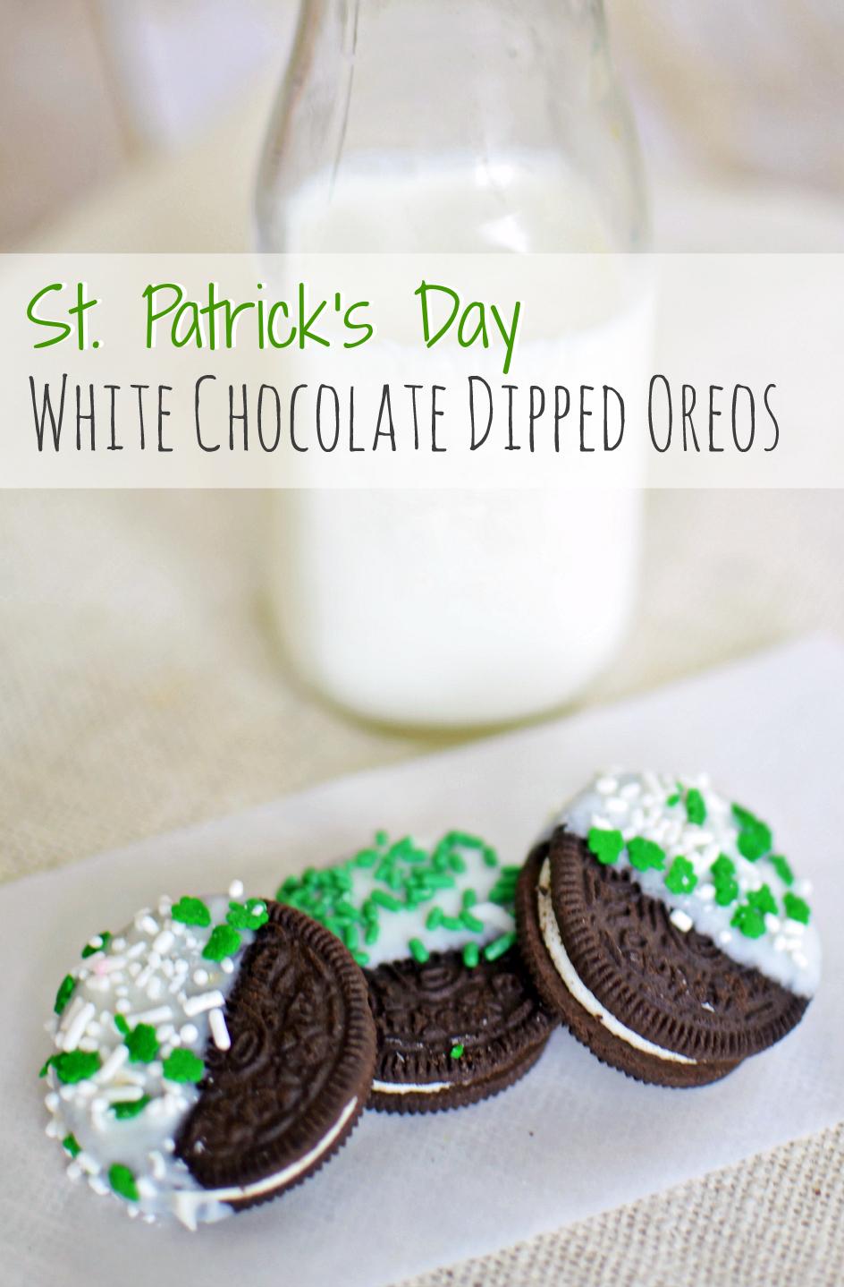St Patricks Day White Chocolate Dipped Oreos