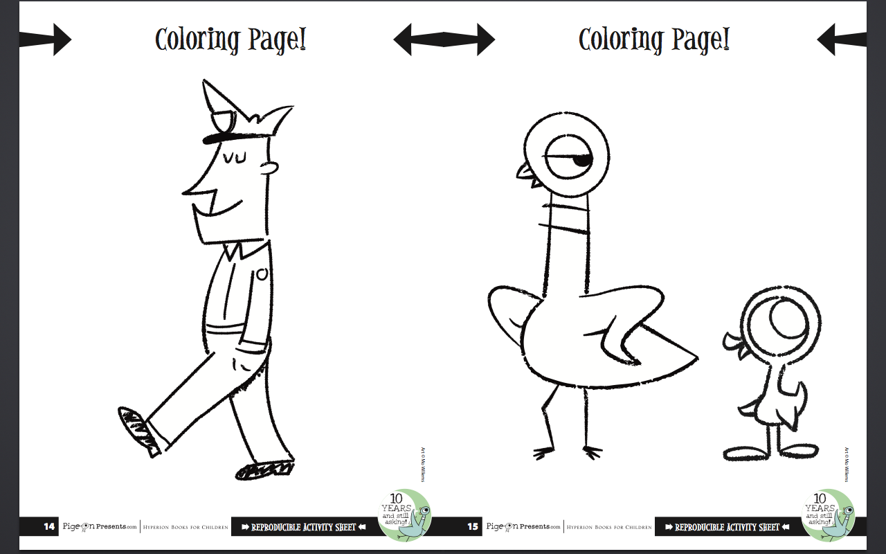 Fun Thanks To Mo Willems The Pigeon Needs A Bath Mo Willems Coloring Pages