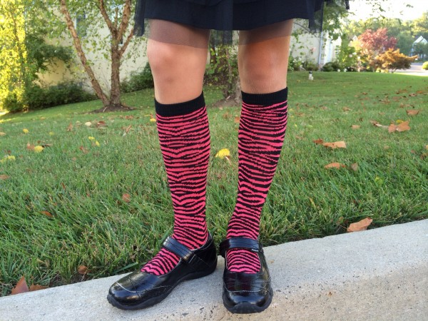 Pink and Black stripes tall socks for back to school style