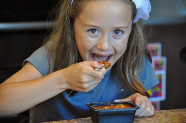 kenzie eating spaghettios micros