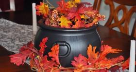 Harvest Floral Centerpiece with Cauldron