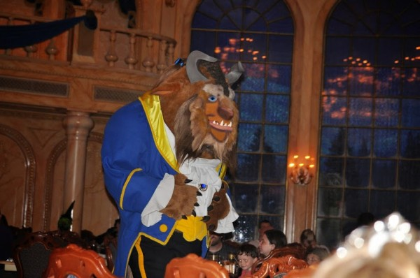 Beast walks through Be our Guest Restaurant