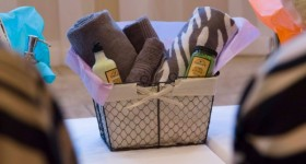Hostess Gift in a basket with towels