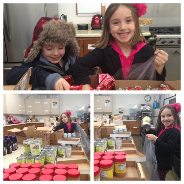 Classy Mommy and the Kids Volunteering for the Food Bank