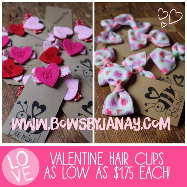 Valentine's Day Card Idea - Super Cute Valentines Day Hair Clips and Bows