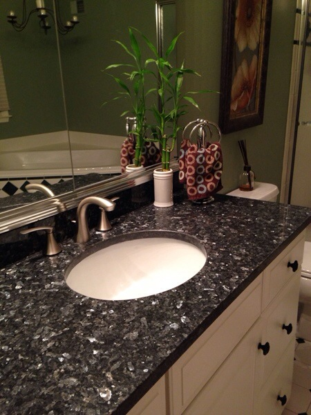New Granite Bathroom Counters and sinks
