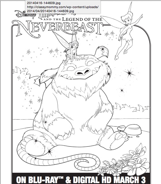 Tinker Bell And The Legend Of NeverBeast Free Printable Coloring Pages
