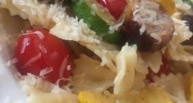 Summer vegetable bowtie pasta dish recipe