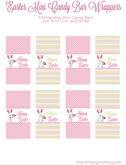 free mini candy bar wrapper template - free printable easter candy bar wrappers classy mommy