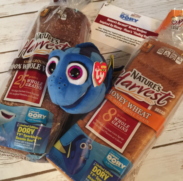 ree Dory TY Sparkle Eye Beanie Boo plush from Nature's Harvest Bread