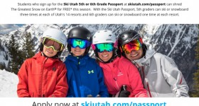 Almost FREE Ski Utah Passport for 5th and 6th Graders