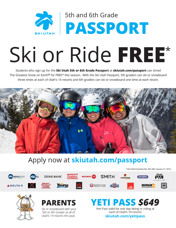 Almost FREE Ski Utah Passport for 5th and 6th Graders