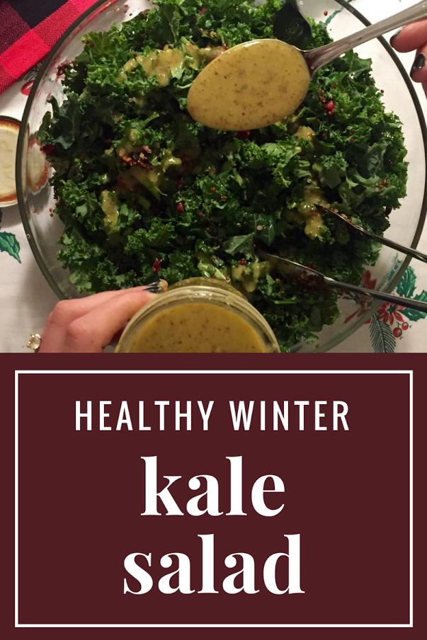 Winter Kale Salad and Sweet Honey Dijon Dressing Recipe