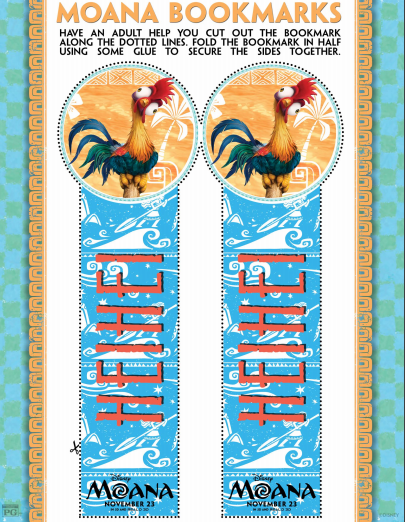 Free MOANA Printable Bookmarks