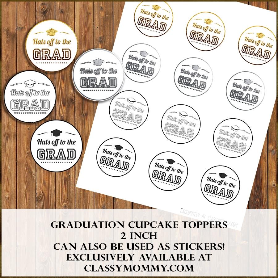 Free Printable Graduation Cupcake Toppers