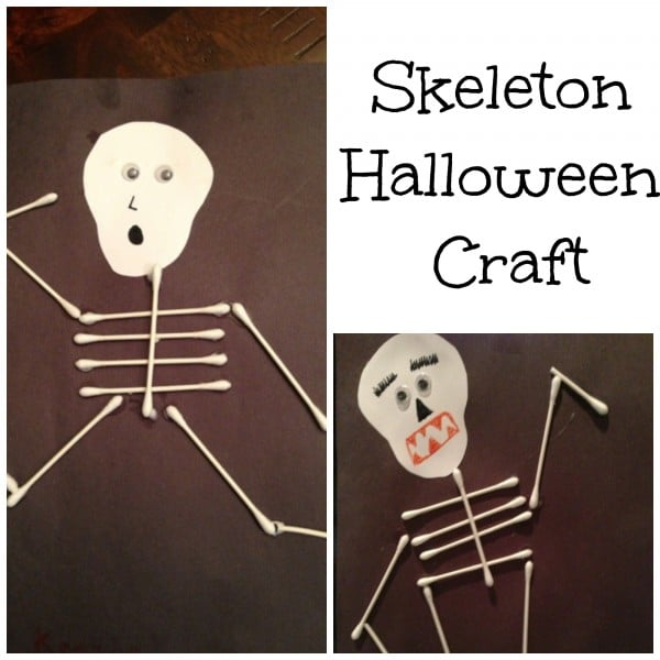 Skeleton Q-Tip Craft for Halloween