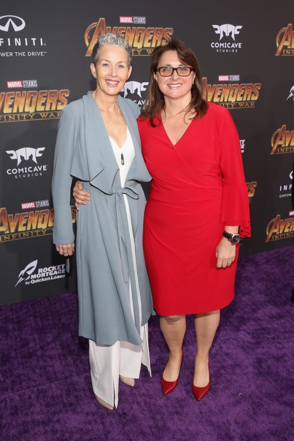 Executive producer Victoria Alonso (L) and Imelda Corcoran attend the Los Angeles Global Premiere for Marvel Studios' Avengers: Infinity War on April 23, 2018 in Hollywood, California.