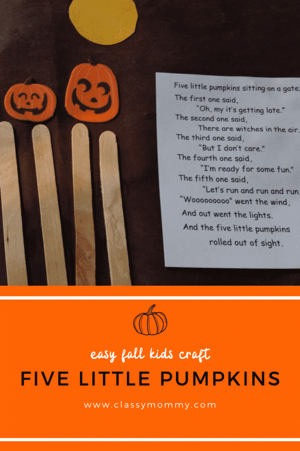 Five Little Pumpkins Poem and Crafts