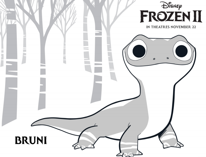 New Free Printable Frozen 2 Bruni the Salamander Coloring Pages
