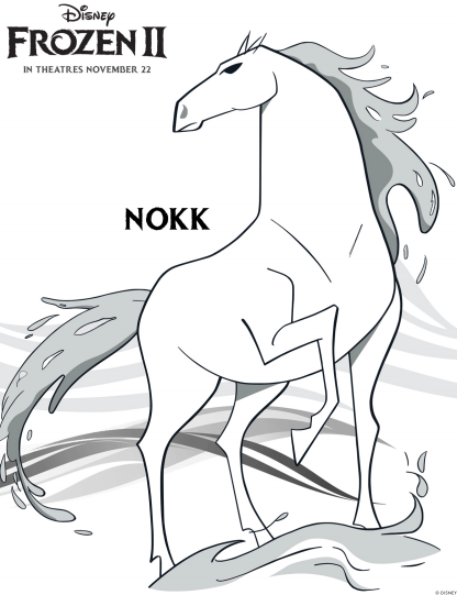New Free Printable Frozen 2 Nokk Water Horse Coloring Pages