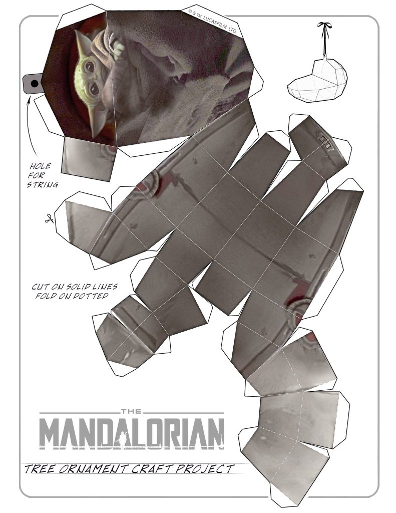 Mandalorian Free Printable Baby Yoda Christmas Ornament Template