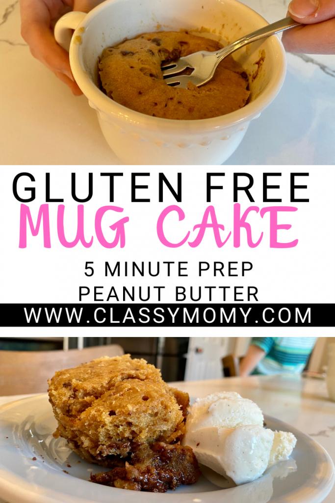 Easy Gluten Free Peanut Butter Mug Cake