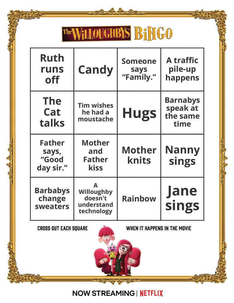 The Willoughbys Free Printable Bingo Pages