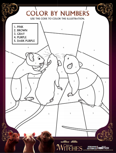 Free Printable The Witches Coloring By Number