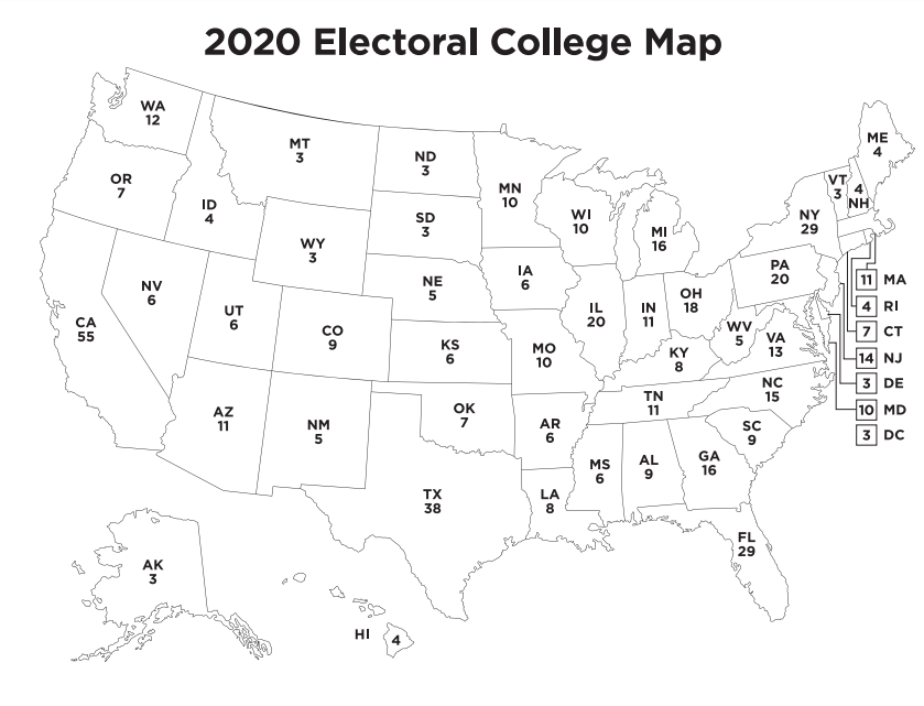 2020 Free Printable Electoral College Map