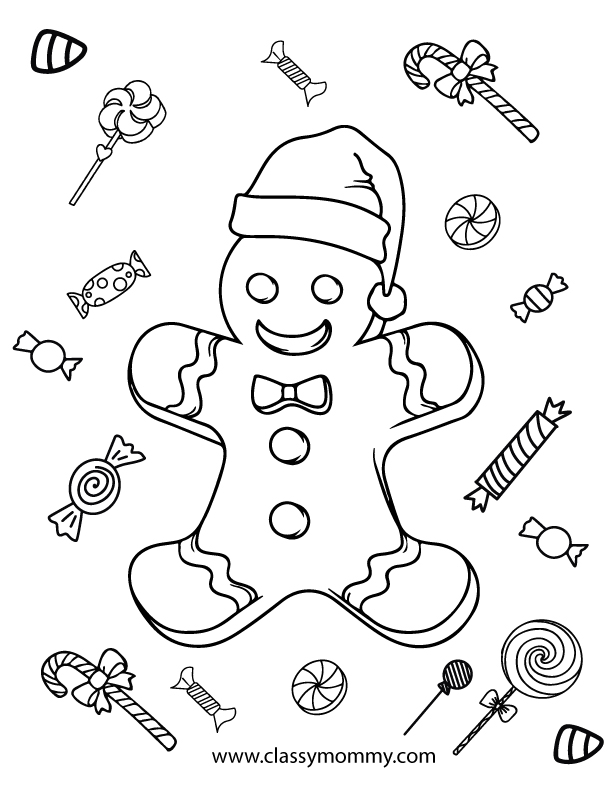 Free Printable Gingerbread Coloring Pages - Classy Mommy