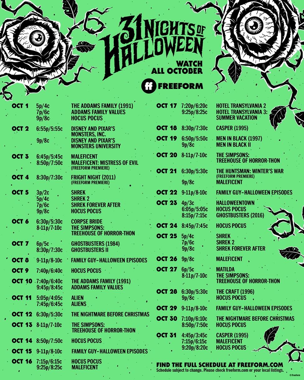 FREEFORM'S 31 Nights of Halloween 2021 Schedule
